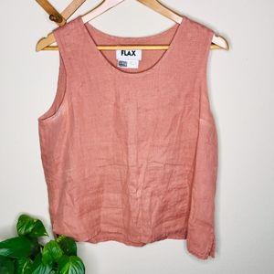 Flax Pink Sleeveless Linen Tank